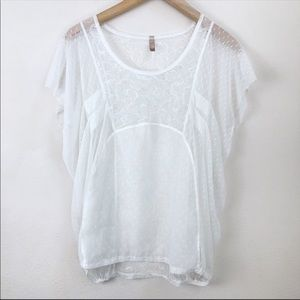 Free People Sheer White Blouse Size Small